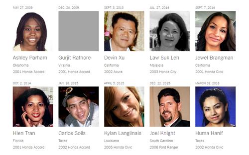 Danh sách 10 trong số 14 người thiệt mạng vì túi khí Takata. Ảnh: NYTimes