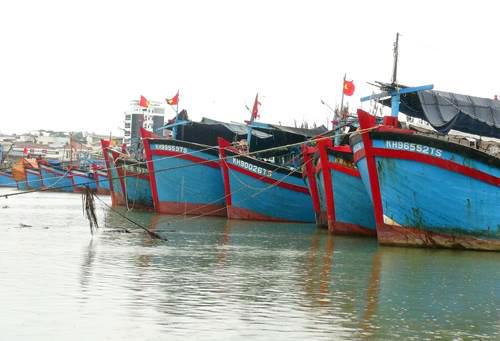 Tàu thuyền đánh bắt gần bờ đã vào neo đậu ở Khánh Hòa. Ảnh: Xuân Ngọc