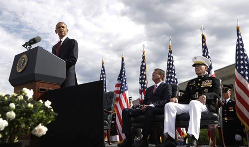 [Caption]Obama phát biểu tại lễ tưởng niệm 15 năm vụ khủng bố 11/9 tại Bộ Quốc phòng Mỹ hôm qua.