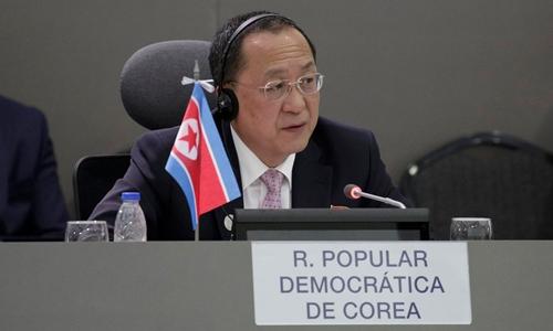 Ngoại trưởng Triều Tiên Ri Yong-ho phát biểu tại hội nghị Phong trào Không liên kết ở thành phố Porlamar, Venezuela, ngày 15/9. Ảnh: Reuters.