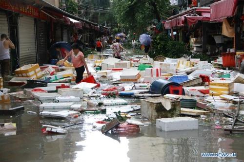 Đường phố ngập lụt tại Hạ Môn, Phúc Kiến do bão Meranti. Ảnh: Xinhua