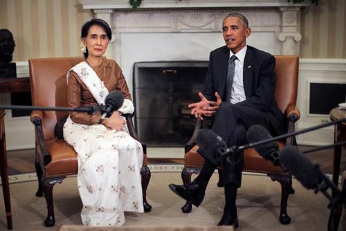 [Caption]Obama nói trong cuộc gặp với lãnh đạo của MyanmarAung San Suu Kyi tại Nhà Trắng hôm 14/9.