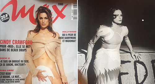 [Caption]The February 1997 edition of Max Magazine, showing Cindy Crawford on the cover, is pictured along with a photograph of Melania Trump from inside the issue. | Photo by Nicholas Vinocur
