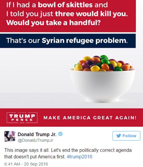 Bức ảnh Donald Trump Jr đăng lên Twitter cá nhân ngày 19/9. Ảnh: BBC/Twitter.