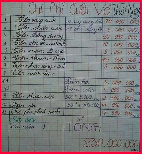 Chi phí cưới vợ ngày nay.