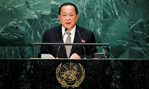 Ngoại trưởng Triều Tiên Ri Yong-ho phát biểu tại Đại Hội đồng Liên Hợp Quốc, New York, Mỹ, ngày 23/9. Ảnh: Reuters.