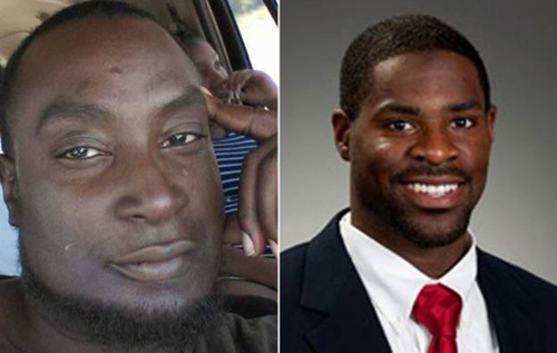 Keith Lamont Scott (L) and Officer Brently Vinson (R)