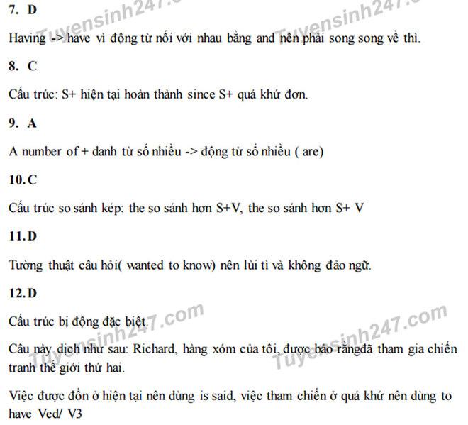 Hướng dẫn giải đề minh họa môn tiếng Anh
