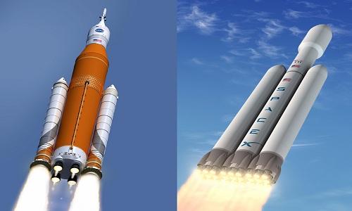 Tên lửa SLS (trái) do Boeing hợp tác phát triển cùng NASA và tên lửa Falcon của SpaceX. Ảnh: Boeing/NASA/SpaceX.