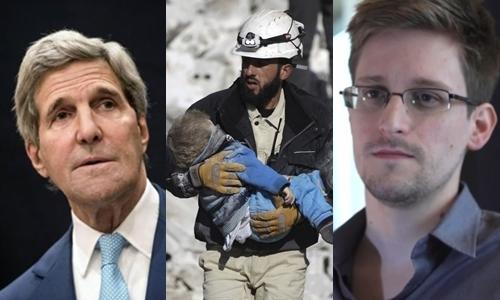 Từ trái sang, Ngoại trưởng Mỹ John Kerry, thành viên nhóm tình nguyện Mũ Bảo hiểm trắng và cựu nhân viên tình báo Mỹ Edward Snowden. Ảnh: Reuters.