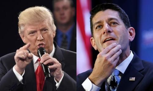 Ứng viên tổng thống đảng Cộng hòa Donald Trump (trái) và Chủ tịch Hạ viện Mỹ Paul Ryan. Ảnh: Reuters.