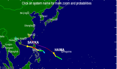 Đài quốc tế dự báo đường đi của bão Sarika. Ảnh: Vnbaolut.