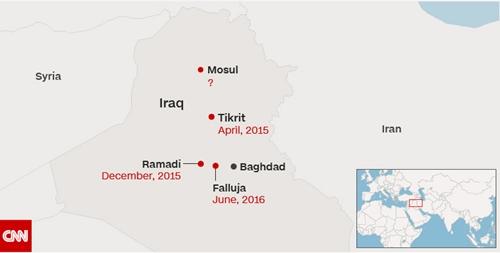Các thành phố lớn được giải phóng khỏi tay IS ở Iraq. Đồ họa: CNN