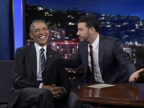 Tổng thống Mỹ Barack Obama trong chương trình talkshow Jimmy Kimmel Live. Ảnh: AP