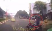 Ôtô phanh cháy lốp tránh xe máy chạy trốn cảnh sát giao thông