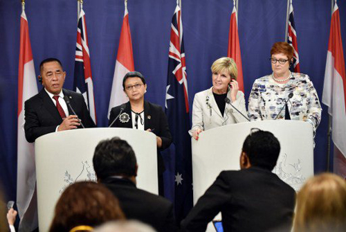 [Caption]This file photo taken on December 21, 2015 shows (L-R) Indonesias Defense Minister Ryamizard Ryacudu, Indonesias Foreign Minister Retno Marsudi, Australias Foreign Minister Julie Bishop and Australias Defense Minister Marise Payne attending a press conference during the third Australia-Indonesia 2+2 Defence and Foreign Ministers meeting in Sydney.