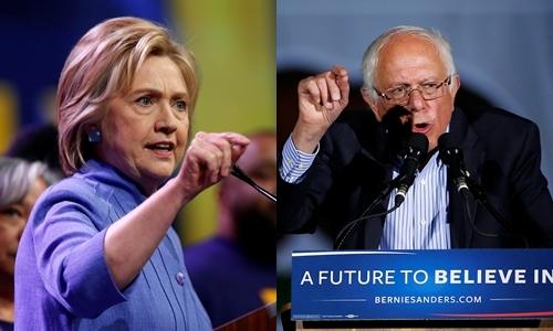 Bà Hillary Clinton (trái) và ông Bernie Sanders, hai ứng viên tổng thống đảng Dân chủ. Ảnh: Reuters.