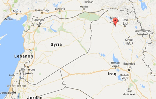 Vị trí thị trấn Hammam al-Alil, Iraq. Đồ họa: Google Maps.