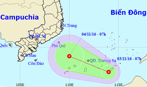 Dự báo hướng đi của áp thấp nhiệt đới. Ảnh: NCHMF.