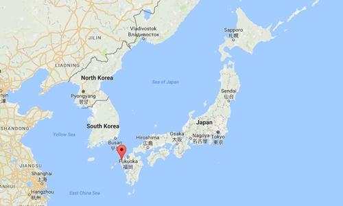 Vị trí thành phố Sasebo, Nagasaki, Nhật Bản. Đồ họa: Google Maps.