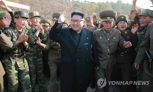 Nhà lãnh đạo Kim Jong-un thăm một đơn vị quân đội Triều Tiên. Ảnh: Yonhap.