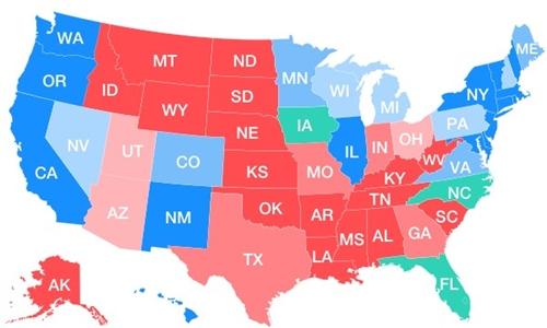 Đường tới chiến thắng của Trump và Clinton. Nguồn: Yahoo.