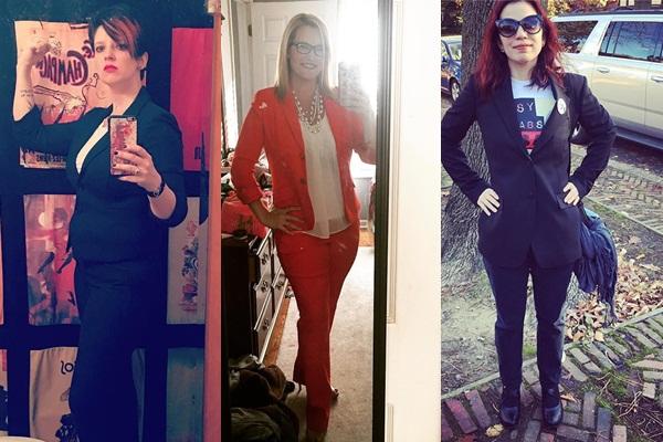 Phụ nữ Mỹ mặc âu phục đi bầu cử để thể hiện sự ủng hộ với bà Hillary Clinton. Ảnh: Instagram