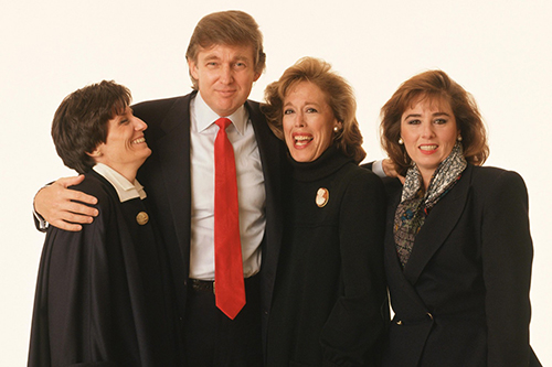 In this outtake photo from Savvy Woman magazine cover story in 1989, Donald Trump poses with members of his team, Blanche Sprague, left, Susan Heilbron, center, and Barbara Res. (George Lange)