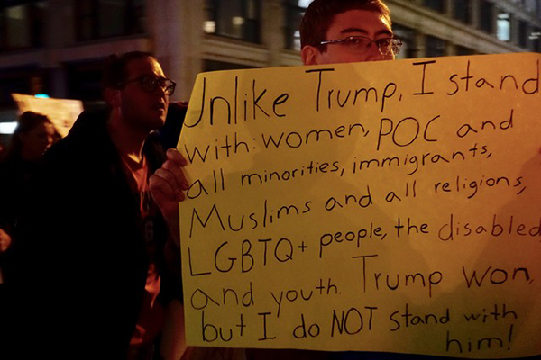 NgườiUnlike Trump, I stand with: women, POC and all minorities, immigrants, Muslims and all religions, LGBTQ + people, the disabled and youth. Trump won but I do not stand with him!