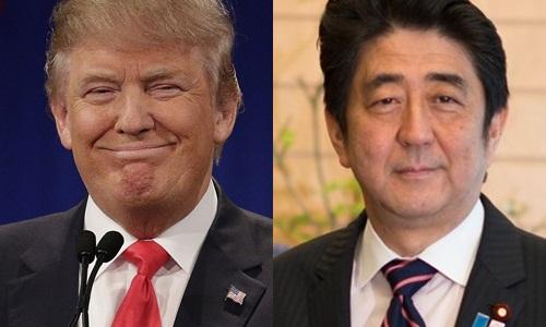 Tổng thống Mỹ mới đắc cử Donald Trump và Thủ tướng Nhật Shinzo Abe. Ảnh: