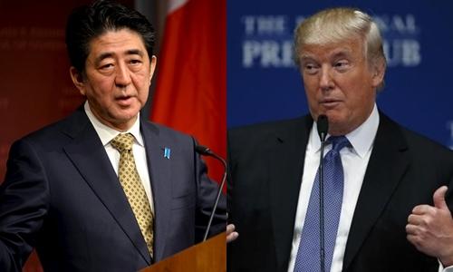 Thủ tướng Nhật Bản Shinzo Abe (trái) và tổng thống Mỹ đắc cử Donald Trump. Ảnh: Reuters.