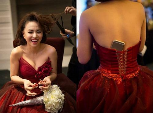 Cô dâu Đinh Ngọc Diệp có chỗ cất điện thoại bá đạo.