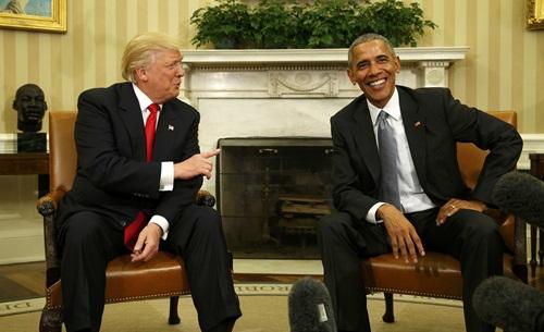 Tổng thống Mỹ mới đắc cử Donald Trump và Tổng thống Barack Obama trong cuộc gặp tại Nhà Trắng. Ảnh: Reuters