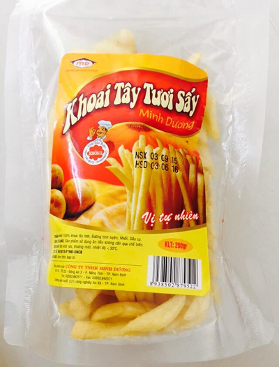 Sản phẩm khoai tây sấy của công ty TNHH Minh Dương được sản xuất bằng công nghệ sấy chân không hiện đại. Ảnh: Minhduongfoods
