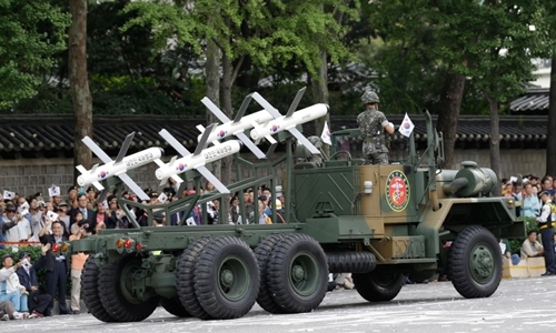 Israeli-made Spike missiles are displayed during a street parade marking the 65th anniversary of the Armed Forces Day in Seoul, South Korea, Tuesday, Oct. 1, 2013. (AP / Lee Jin-man)