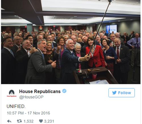 Bức ảnh được đăng trên tài khoản Twitter của phe Cộng hòa tại Hạ viện. Ảnh: Twitter