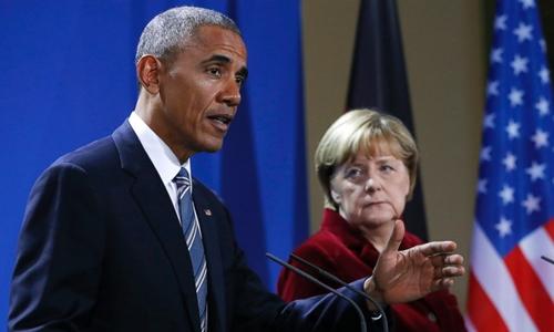 Tổng thống Mỹ Obama và Thủ tướng Đức Merkel trong cuộc họp báo hôm qua tại Berlin. Ảnh: ABC News.