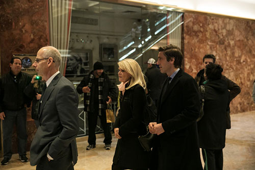 At center, Martha Raddatz and David Muir of ABC arriving for a meeting at Trump Tower with Donald J. Trump on Monday. CreditTodd Heisler/The New York Times