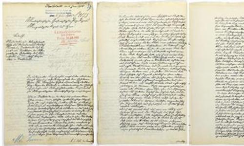 Thư tay của ông nội Donald Trump viết năm 1905. Ảnh: AP.