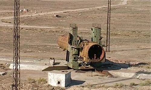 Một bệ phóng tên lửa A-350 bỏ hoang ở Sary Shagan. Ảnh Russian Internet.