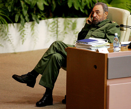 [Caption]Cuban President Fidel Castro attends a conference on terrorism in Havanas convention centre June 3, 2005. REUTERS/Mariana Bazo/File Photo