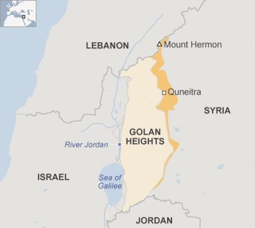 Vị trí đỉnh Golan. Đồ họa: BBC.