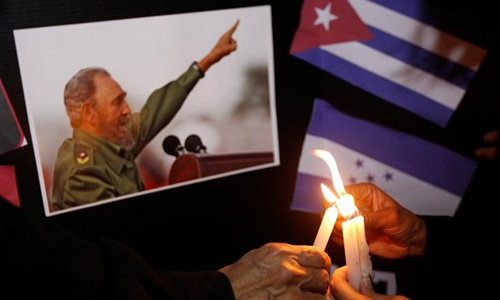 Citizens will have two days to pay homage to Castro in Havana, before his ashes are interred in Santiago de Cuba. Photograph: Jorge Cabrera/Reuters