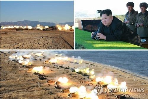 Lãnh đạo Triều Tiên Kim Jong-un chỉ đạo các đơn vj pháo binh diễn tập tấn công Hàn Quốc. Ảnh: Yonhap.