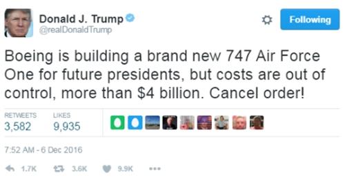 Tổng thống Mỹ đắc cử Donald Trump kêu gọi hủy hợp đồng với Boeing trên Twitter cá nhân. Ảnh: CNBC/Twitter.