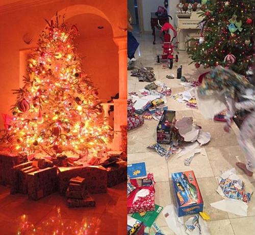 Sự khác biệt trước và sau khi các con của Donald Trump mở quà Giáng sinh. Ảnh: Instagram. Ảnh: Instagram