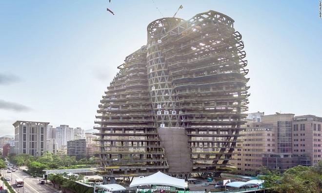 Tòa tháp uốn vặn chứa 23.000 cây xanh ở Đài Loan