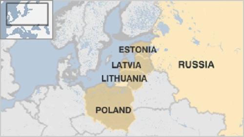 Ba Lan và các nước vùng Baltic đều có biên giới giáp với lãnh thổ Nga. Đồ họa:BBC.