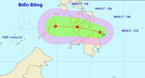Áp thấp nhiệt đới đầu tiên trong năm áp sát biển Đông