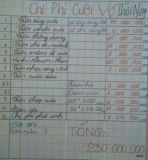 Chi phí cưới vợ đắt đỏ.